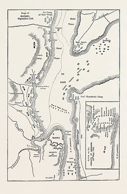 Quebec Drawing - Plan Of The Siege Of Quebec, Canada by Canadian School