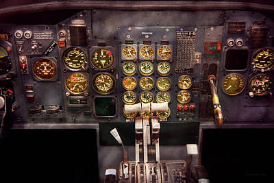 Plane - Cockpit - Boeing 727 - The Controls Are Set Art Print by Mike Savad