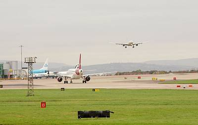 Plane Coming In To Manchester Airport Print by Ashley Cooper