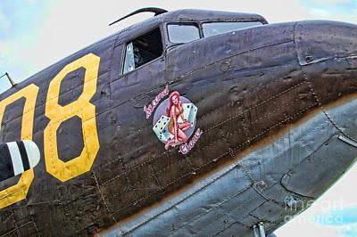 Pin Up Nose Art Photograph - Plane-douglas C-47b Sky Train by Paul Ward