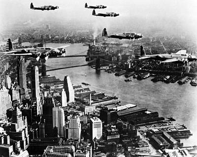Sky Line Photograph - Planes Over The City by Retro Images Archive