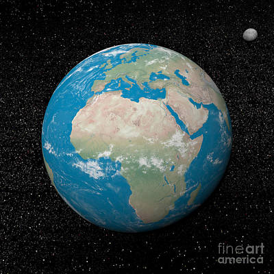 Digital Art - Planet Earth And Moon Surrounded by Elena Duvernay