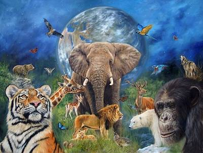 Chimpanzee Painting - Planet Earth by David Stribbling