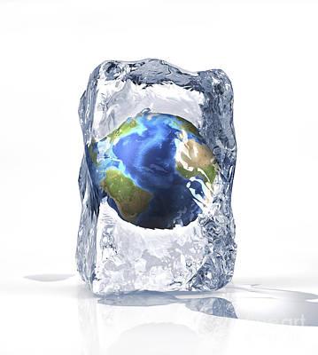 World Changing Digital Art - Planet Earth Frozen Inside Of An Ice by Leonello Calvetti