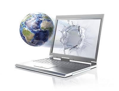 Networking Digital Art - Planet Earth Globe Coming by Leonello Calvetti