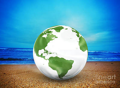 Ideas Photograph - Planet Earth Model On The Beach by Michal Bednarek