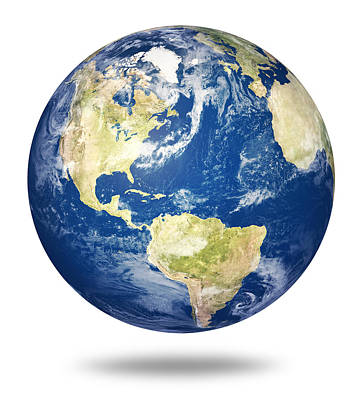 Planet Earth On White - America Art Print by Johan Swanepoel