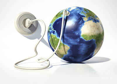 Relief Map Digital Art - Planet Earth With Electric Cable, Plug by Leonello Calvetti