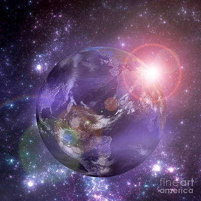 Digital Art - Planet Earth With The Rising Sun by Martin Capek