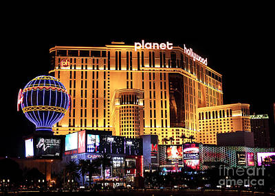 Photograph - Planet Hollywood At Night by John Rizzuto