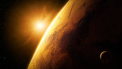 Abstract Landscape Digital Art - Planet Mars Close-up With Sunrise by Johan Swanepoel