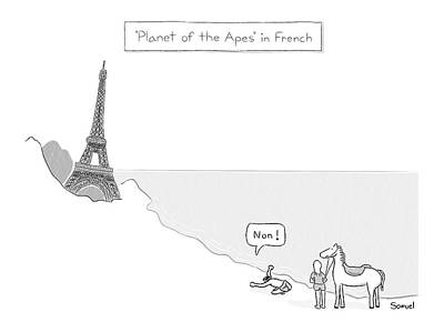 Paris Drawing - Planet Of The Apes In French -- The Eiffel Tower by Jacob Samuel