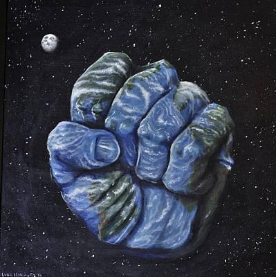 Whimsical Painting - Planetary Clench by Luke Horowitz
