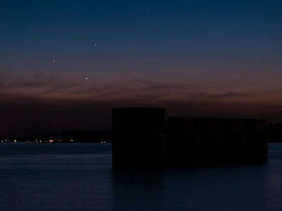 Photograph - Planetary Conjunction Of Mercury Venus And Jupiter by Charles Hite