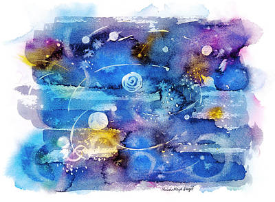Outer Space Painting - Planets by Michele Angel