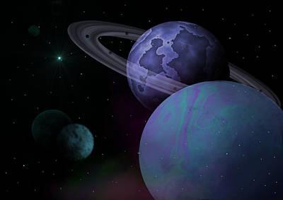 Solar Eclipse Digital Art - Planets Vs. Dwarf Planets by Ricky Haug