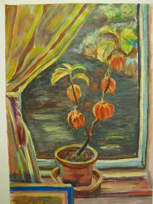 Plant In A Window Art Print by Ellen Howell