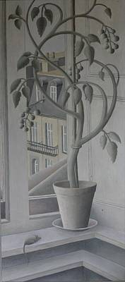 Window Ledge Photograph - Plant In Window, Oil On Panel by Ruth Addinall