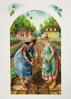 Sowing Painting - Planting A Garden by Lynn Bywaters