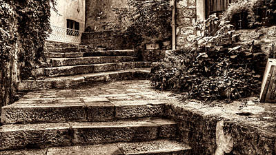 Photograph - Plants Grow In The Uneven Stairs Climbing Towards The Tower Sepia by Weston Westmoreland