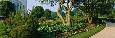 House Of Worship Photograph - Plants In A Garden, Bahai Temple by Panoramic Images