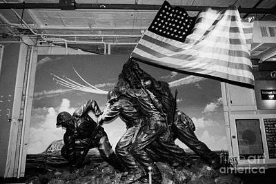 Plaster Iwo Jima Memorial Statue Sculpture In Stern Hall On The Hangar Deck At The Intrepid Sea Air  Art Print