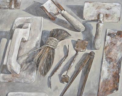 Plasterer Tools 1 Art Print by Anke Classen