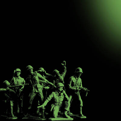 Painting - Plastic Army Man Battalion Black And Green by Tony Rubino