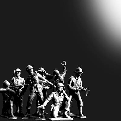 Squad Painting - Plastic Army Man Battalion Black And White by Tony Rubino