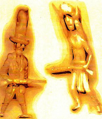 Plastic Models Digital Art - Plastic Cowboy And Plastic Brave by Del Gaizo