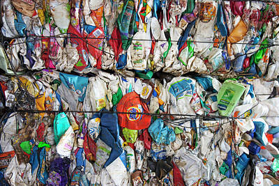 Plastic Packaging At A Recycling Centre Art Print by Peter Menzel