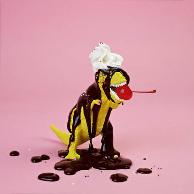 Photograph - Plastic T-rex Dinosaur Toy As Chocolate by Juj Winn