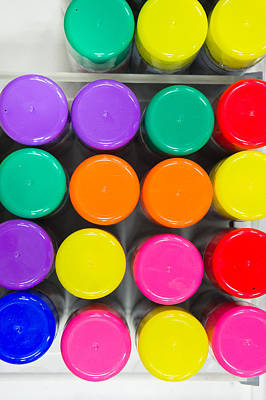 Spray Paint Can Photograph - Plastic Tops by Tom Gowanlock