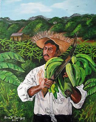 Jibaros Painting - Platano Man by Luis F Rodriguez
