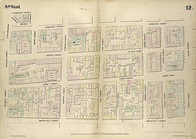Chatham Drawing - Plate 12 Map Bounded By Chatham Street, East Broadway by Litz Collection