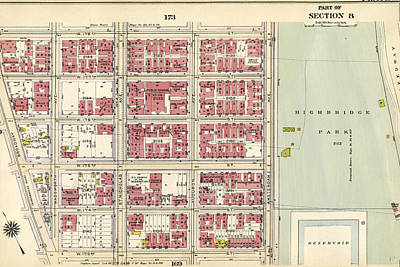 Plate 171 Bounded By W. 178th Street, Amsterdam Avenue Art Print by Litz Collection