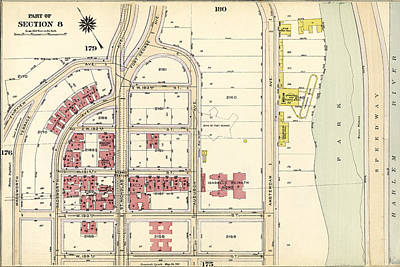 Harlem Drawing - Plate 177 Bounded By Fairview Avenue, Isabella Heimath Home by Litz Collection