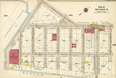Harlem Drawing - Plate 185 Bounded By Nagle Avenue, Amsterdam Avenue by Litz Collection