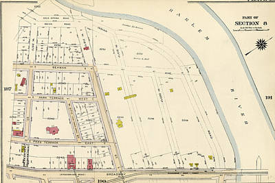 Harlem Drawing - Plate 189 Bounded By Cold Spring Road, Indian Road Harlem by Litz Collection