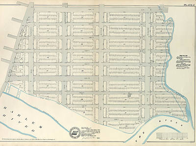 Harlem Drawing - Plate 2 Map No. 419 Bounded By 138th Street by Litz Collection