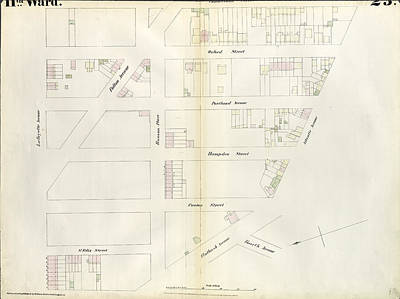 Plate 23 Map Bounded By Lafayette Avenue Print by Litz Collection