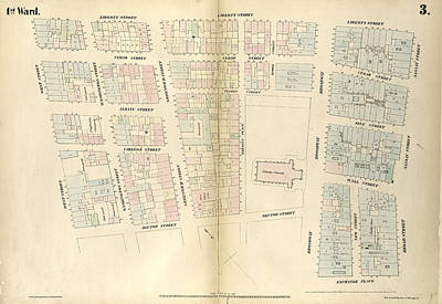 Liberty Place Drawing - Plate 3 Map Bounded By Liberty Street, Nassau Street by Litz Collection