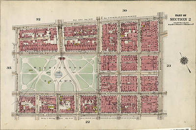 Washington Square Drawing - Plate 31 Bounded By W. 8th Street, E. 8th Street by Litz Collection
