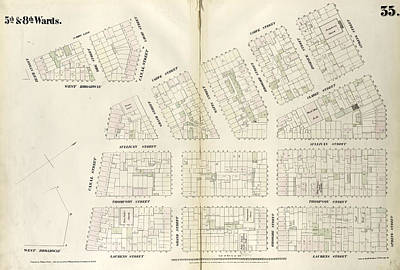 Plate 35 Map Bounded By Spring Street, Laurens Street Art Print by Litz Collection
