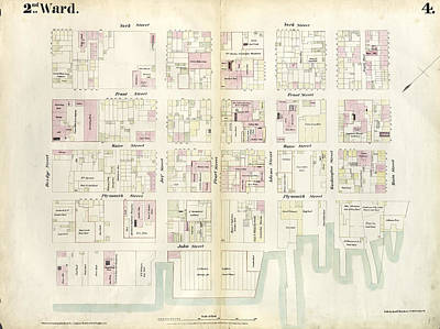 Main Street Drawing - Plate 4 Map Bounded By East River, Bridge Street by Litz Collection