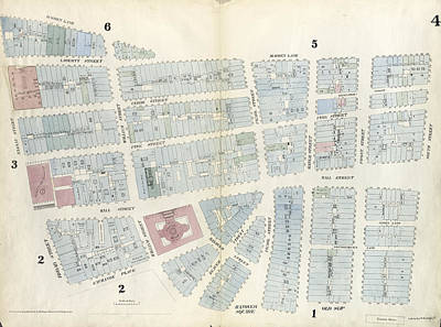 Plate 4 Map Bounded By Maiden Lane, South Street Art Print by Litz Collection