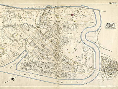 Harlem Drawing - Plate 45 Bounded By Boulevard Lafayette Hudson River by Litz Collection