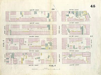 Plate 45 Map Bounded By West 18th Street, East 18th Street Art Print