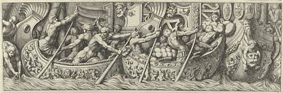 Plate 6 Figures In Boats Decorated Art Print