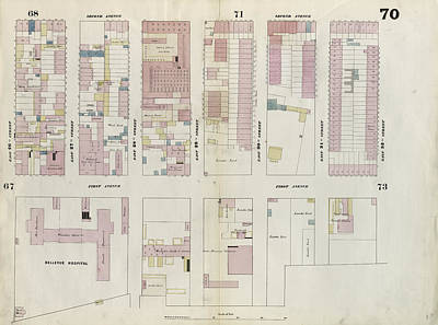 1862-70 Drawing - Plate 70 Map Bounded By East 32nd Street by Litz Collection